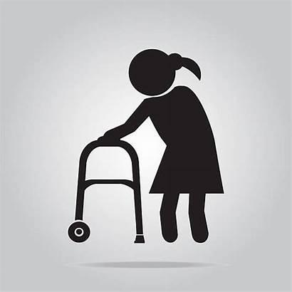 Rollator Walker Clip Woman Illustrations Elderly Vector