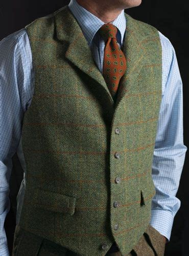 buy tweed waistcoat  green orange