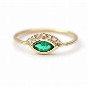 marquise emerald engagement ring with pave diamonds in 18k With wedding rings emerald