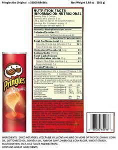 pringles food label