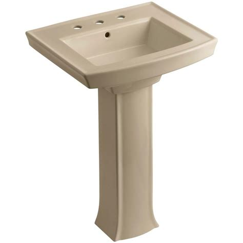kohler archer vitreous china pedestal combo bathroom sink in mexican sand with overflow drain k