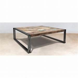 Table Basse Industrielle Carrée : table basse carr e bois recycl 100x100 caravelle ~ Teatrodelosmanantiales.com Idées de Décoration