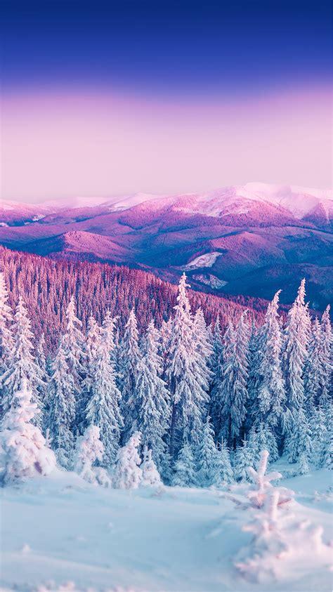 Purple Winter Mountain Landscape Iphone 6 Wallpaper Hd