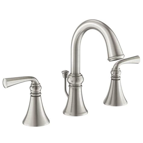 moen wetherly spot resist brushed nickel  handle widespread watersense bathroom sink faucet