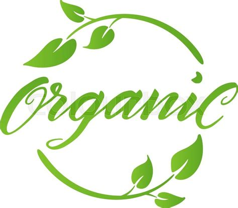 Organic brush lettering. Hand drawn word organic with green leaves. Label, logo template for