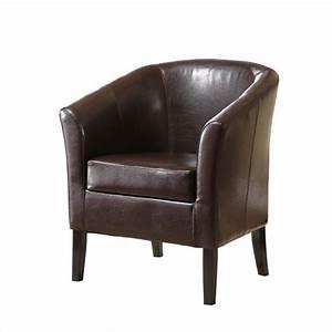 Faux Leather Barrel Club Chair in Brown - 36077BRN-01-AS-U