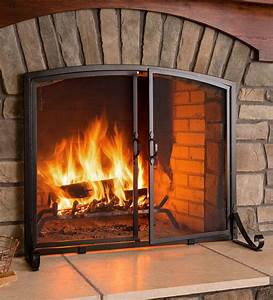 Arched, Top, Flat, Guard, Fireplace, Screen, With, Doors, Small
