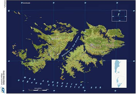 Mapa satelital de las Islas Malvinas Gifex