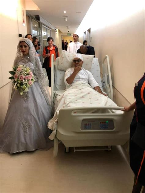 groom weds  hospital bed  surviving robbery  eve