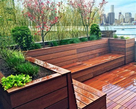 heights roof deck garden design with tub and