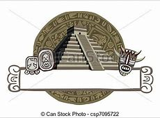Antique mayan pyramid and glyphs Illustration with mayan