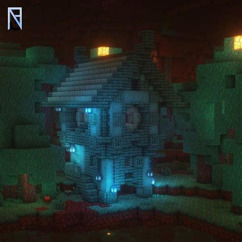 built  house   warped forest minecraft