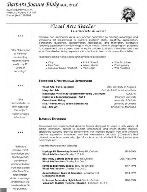 visual arts teacher resume professional teacher resume