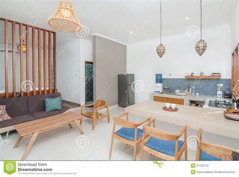 Clean Kitchen Room Villa Minimalist Design Stock Photo