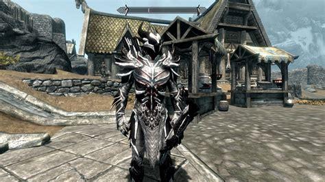 white  black daedric weapons  armor retex  skyrim