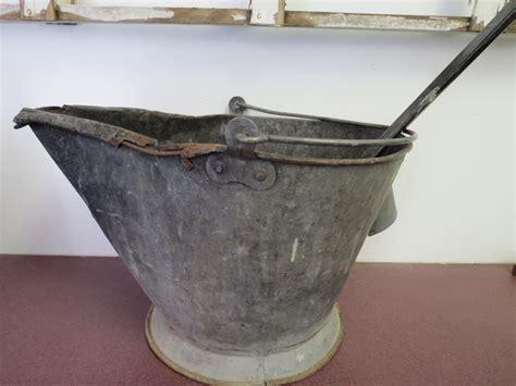 Antique Coal Bucket With Coal Or Ash Shovel