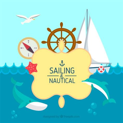 Sailing Boat Elements by Sailing Background In Flat Design With Elements Vector