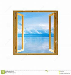 Frame Window Open Wooden Sky Water Clouds View Stock Photo ...
