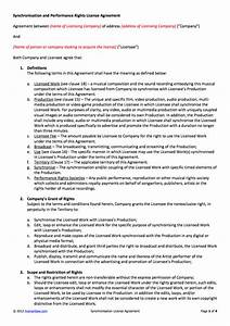 product license agreement template - synchronisation license contract template