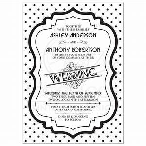 wedding invitation retro 50s black white polka dot With black and white polka dot wedding invitations