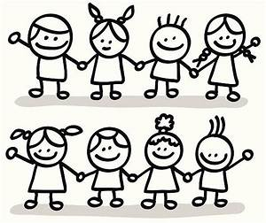 Happy Children Clip Art Black And White – 101 Clip Art