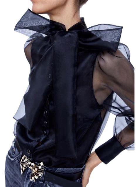 zara black organza sheer bow blouse size   tradesy