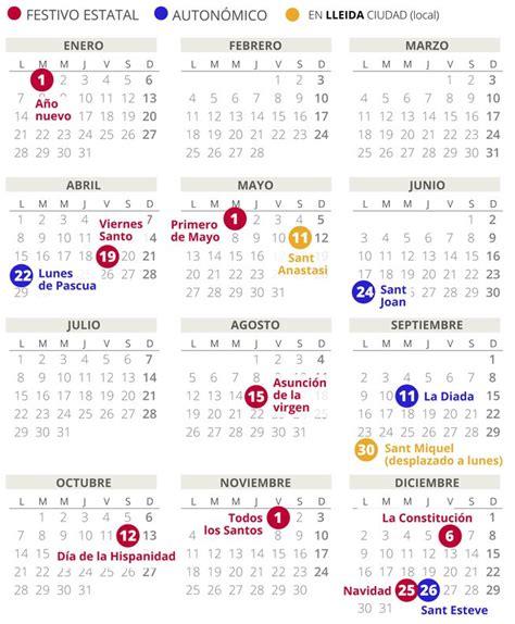 calendario laboral lleida todos los festivos