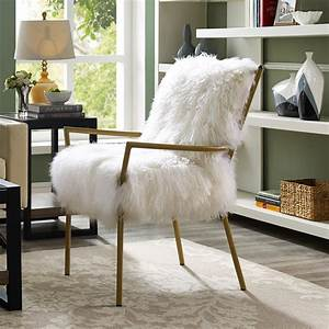 TOV Furniture TOV A66 Lena White Sheepskin Chair On Rose
