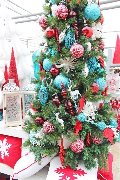 christmas decor  red turquoise christmas tree