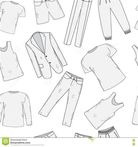 clothing set seamless pattern sketch mens clothes hand
