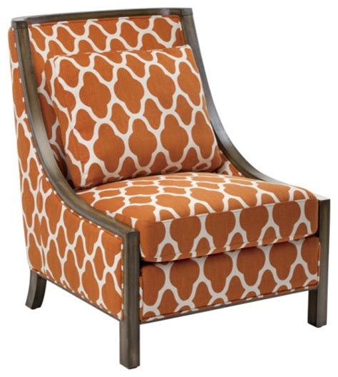 lattice pattern occasional chair strathmore orange