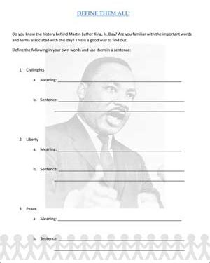 martin luther king lesson worksheets dr martin luther