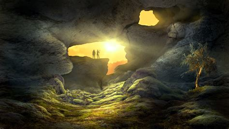 fantasy landscape cave human hd artist  wallpapers