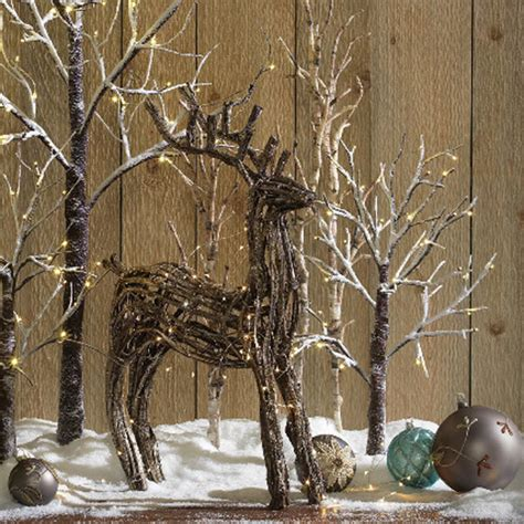 24 quot flocked lit tree battery operated rustic holiday