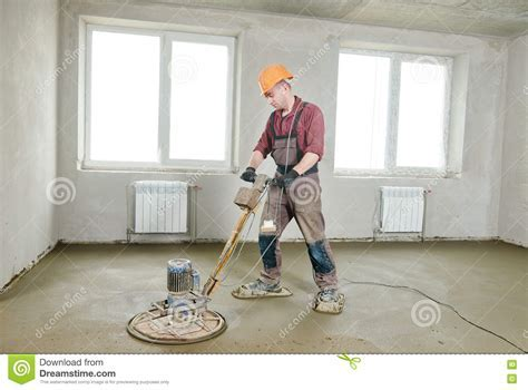 Floor Machine Grinding By Power Trowel Stock Image   Image