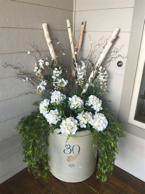red wing crock front porch decor spring summer  sunny