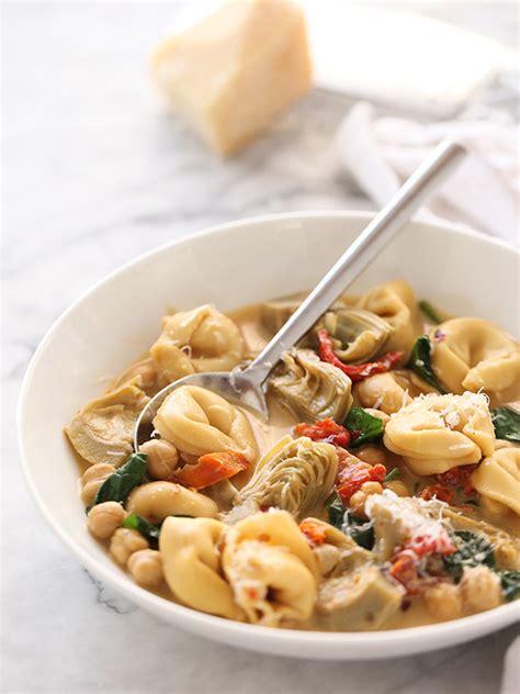 cuisine florentine tortellini soup with artichokes foodiecrush