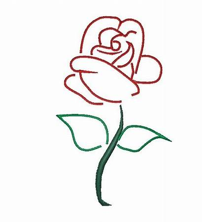 Outline Rose Outlines Stem Drawing Tattoo Clipart