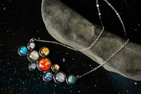 Solar System Necklace Silver Galaxy Pendant Nerdy Fashion