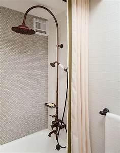 Vintage Tiled Drop Tub With Shower Niche Vintage Bathroom