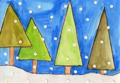 geometric winter trees art projects  kids