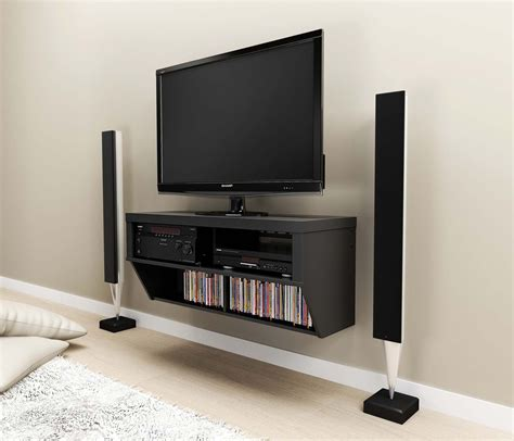 Tv Rack Wandmontage by Furniture Interior Wall Mounted Black Painted Wooden Tv
