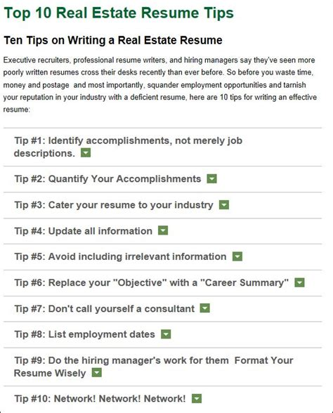 rebuild your real estate resume real estate development