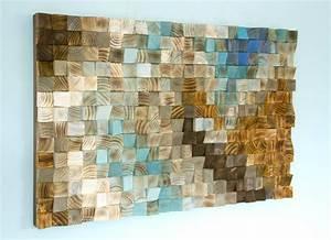 Wood wall art mosaic office decor geometric