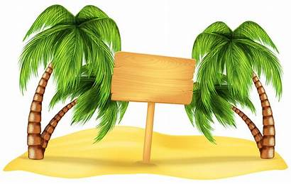 Transparent Summer Background Beach Clipart Palm Vacation