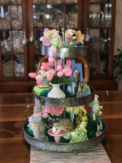 easter style tiered tray decor ideas