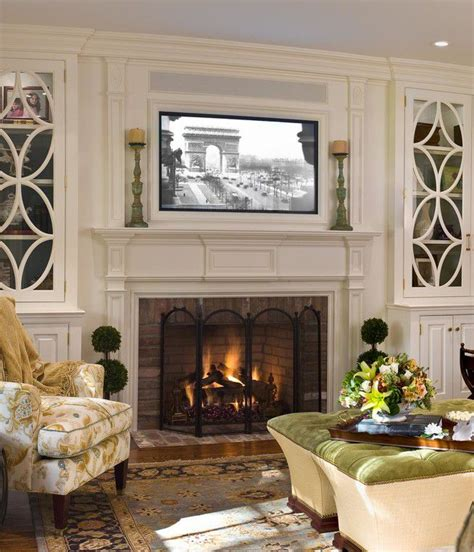 cabinets next to fireplace tv over fireplace ideas tv mounted above fireplace in