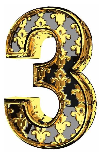 Number Clip Elegant Three Numbers Clipart Decorative