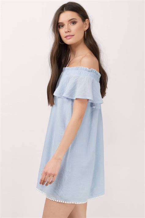 light blue dress light blue dress shoulder dress blue smock dress