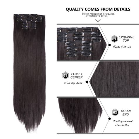 Alileader 6pcsset 22 Hairpiece 140g Straight 16 Clips In